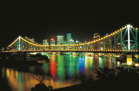 Brisbane city lights up at night, in chorus with the twinkling lights of the Story Bridge.