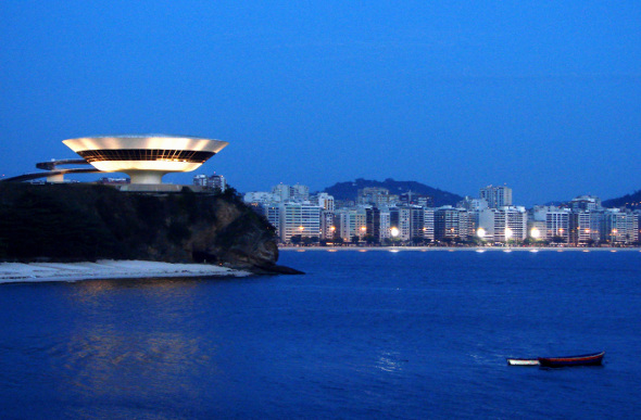 The space-age-looking Niteroi Contemporary Art Museum in Rio de Janeiro, Brazil.