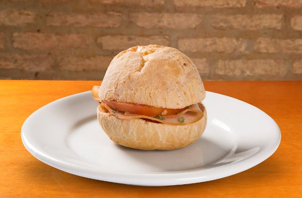 A sandwich made of pao de queijo cheese bread, a Brazilian favourite.