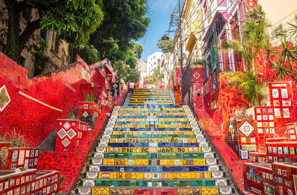 The colourful Selaron Steps in Rio de Janeiro, Brazil.
