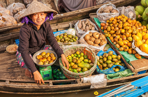 A floating market on the Mekong River. Picture: Getty Images