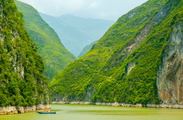 Towering cliffs in the Three Gorges section of China's Yangtze River.