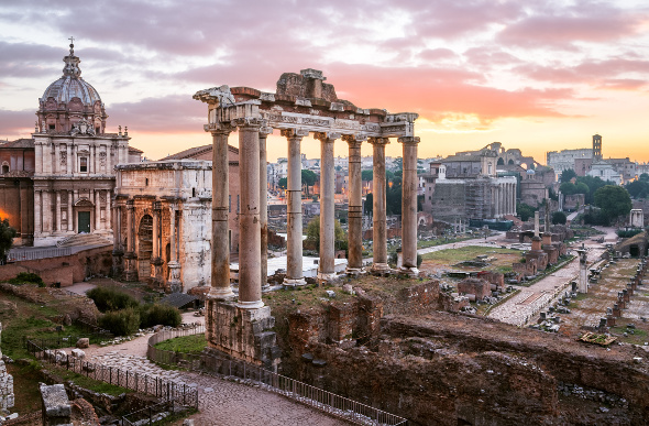 Sunrise over the Roman Forum in Rome, Italy