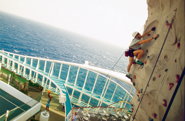 Rock climbing on cruise ship