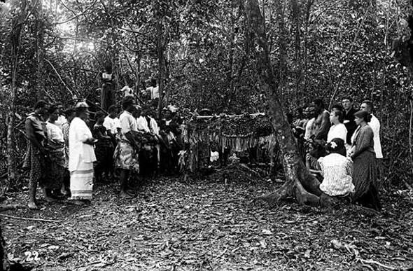 Samoans performing a burial ceremony for Robert Louis Stevenson