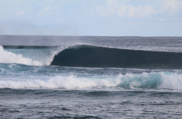 A perfect curling wave in Samoa
