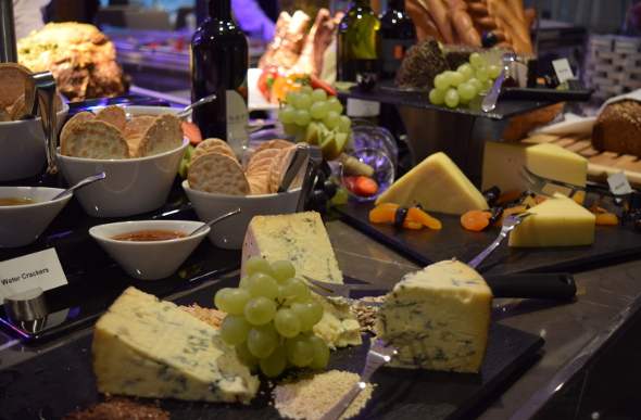 Delicious cheeses are part of the buffet on board Scenic Amber.