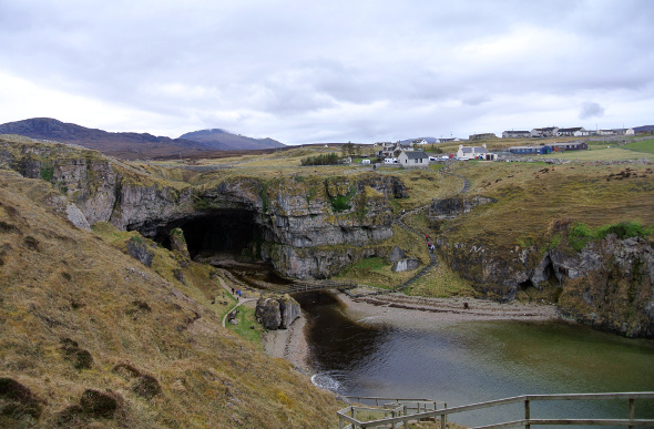 Smoo Cave and the village of Durness