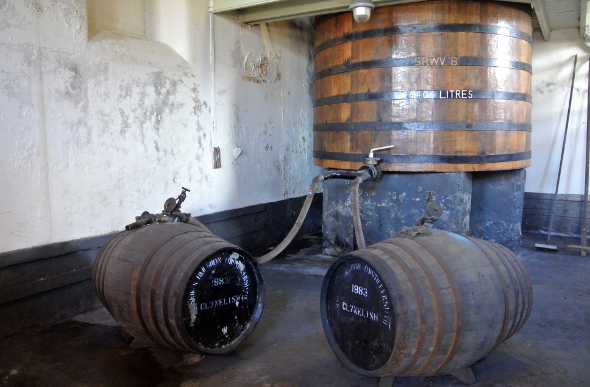 Barrels of whisky at Clynelish distillery