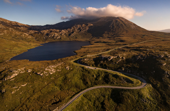 A winding road near Loch Assynt in Scotland