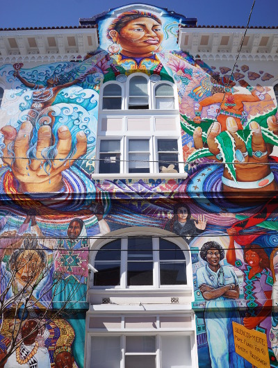 A mural on the outside of The Women's Building in San Fran