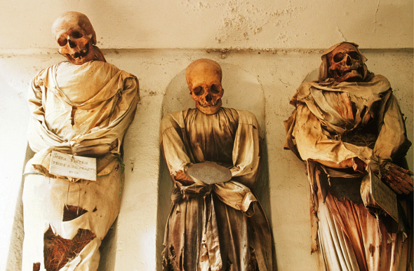 Corpses in the crypt of Palermo's Capuchin Monastery