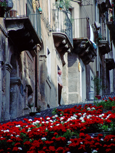 A flower-decorated street decorated in Caltagirone