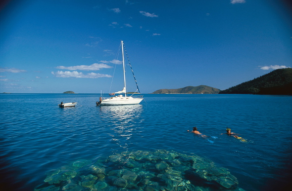 Snorkellers swim back to their boat from a coral bommie off Hook Island in the Whitsundays.