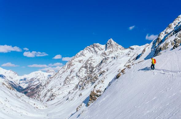 A lone skier at St Anton am Arlberg, Austria.