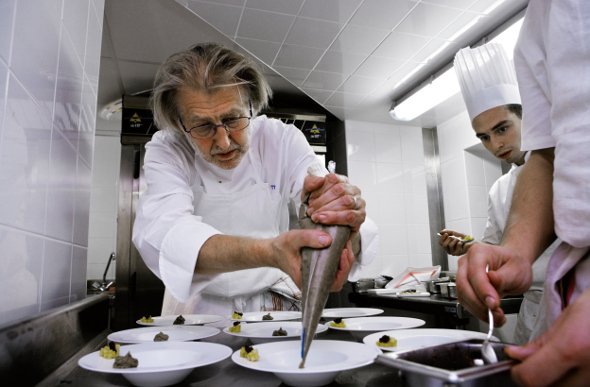 Chef Pierre Gagnaire prepares deliciousness at Les Airelles in Courchevel, France.