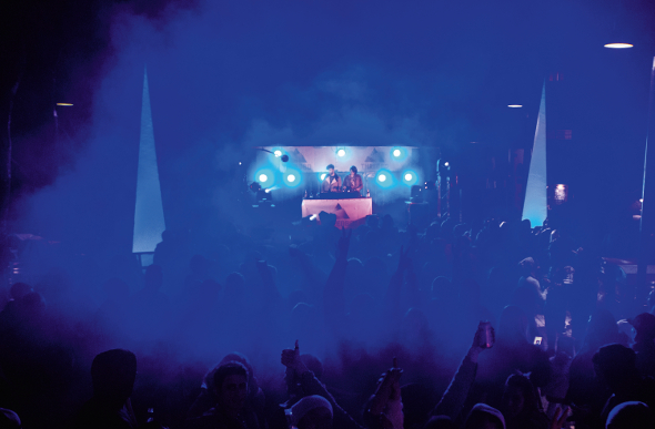 DJs entertain a crowd at Thredbo, Australia.
