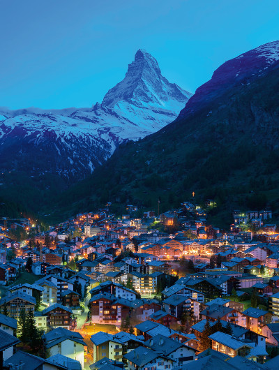 The Swiss town of Zermatt, with the Matterhorn in the background.