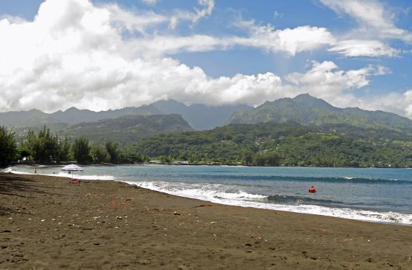 The black-sand Plage de Venus Point in Tahiti.