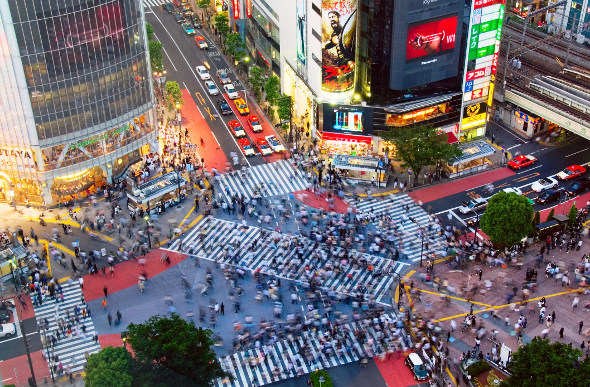 Aerial view of a busy crossing in Tokyo