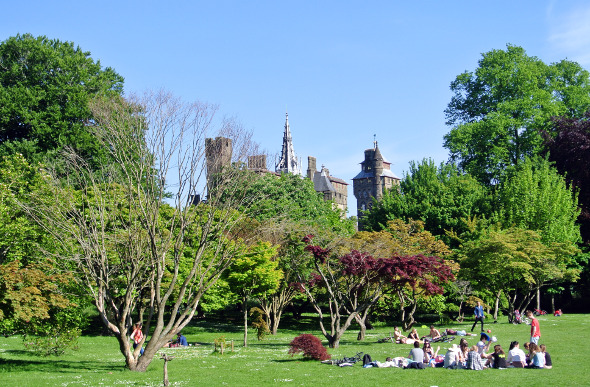 Bute Park in Cardiff with the castle in the background