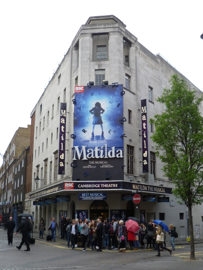 People lining up for Matilda the Musical in London