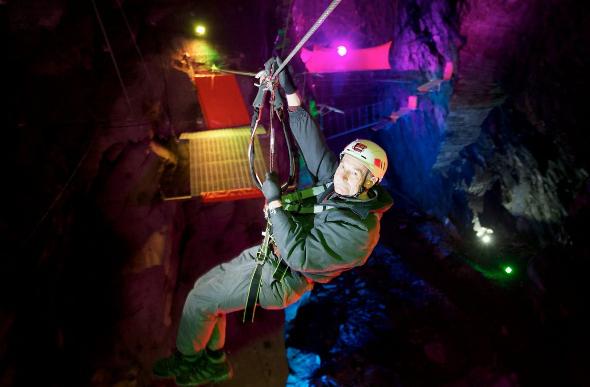 Wales Opens World's Largest Underground Zipline