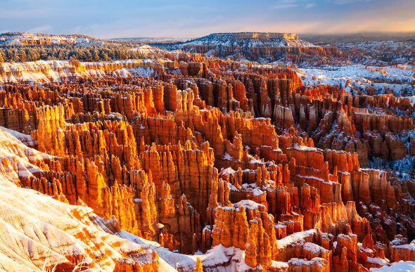 Bryce Canyon looks coy under a dusting of snow in Utah. Picture: Getty Images