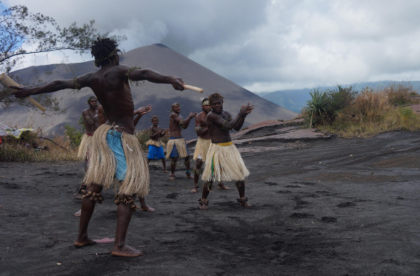 Locals dancing on Tanna in Vanuatu