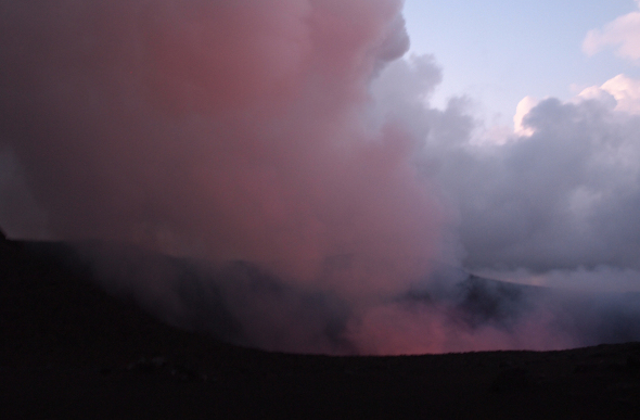 Red smoke rising out of Mt Yasur on Tanna