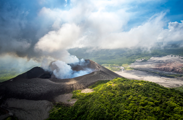 Steaming Mt Yasur in Vanuatu.