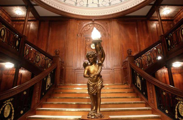 A recreation of the staircase from the Titanic at a Las Vegas exhibition.