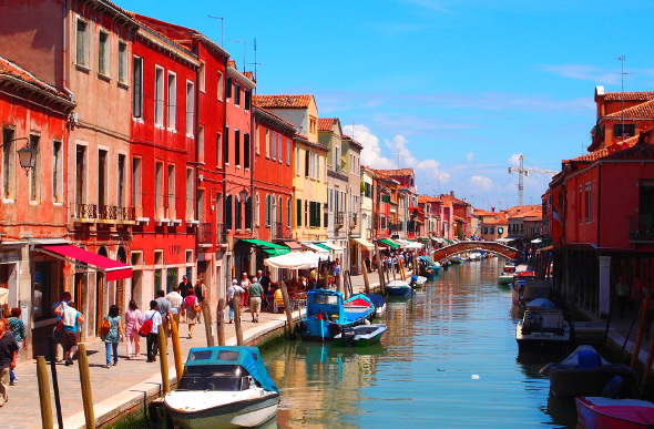 Colourful buildings along the canal on Murano