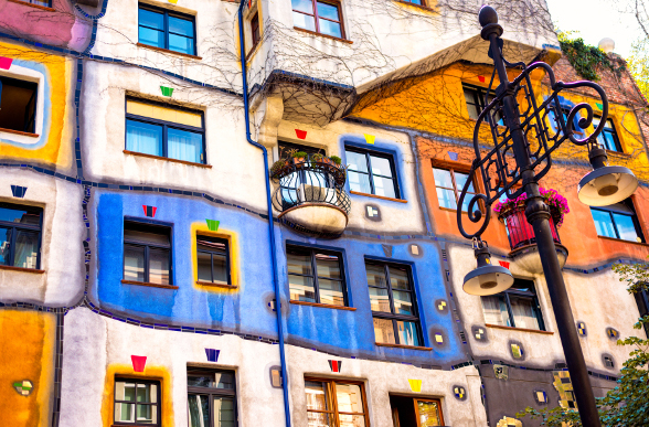 The unique Hundertwasserhaus (Hundertwasser House).