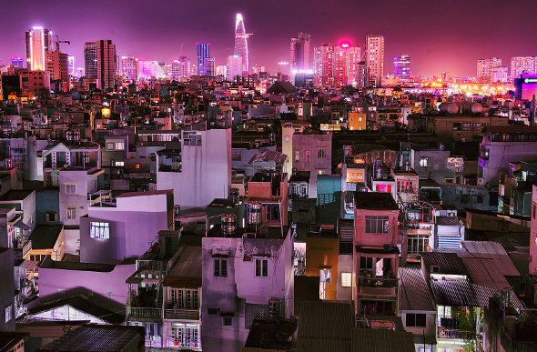 The sparkling skyline of Ho Chi Minh City in Vietnam.
