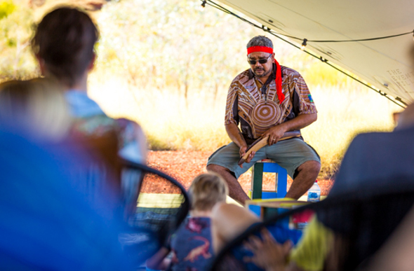 A traditional owner share his knowledge at The Karijini Experience. Picture: Dan Avila