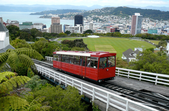 Wellington cable car with cityscape in the background