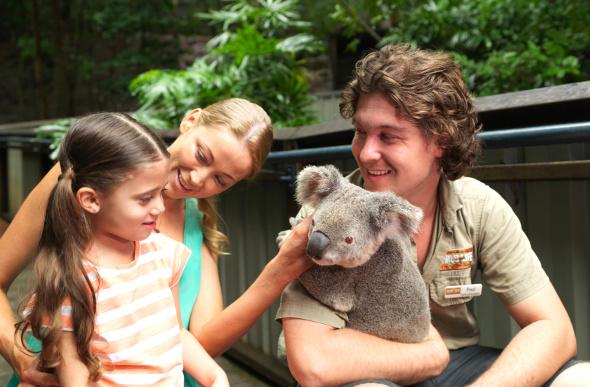 A family cuddles a koala at WILD LIFE Hamilton Island.