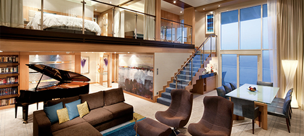 Luxurious cruise suite with piano and balcony