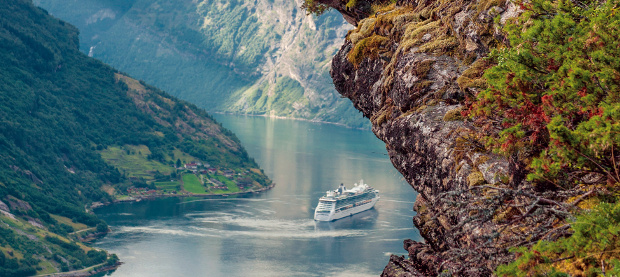Cruise ship in Norway fjords