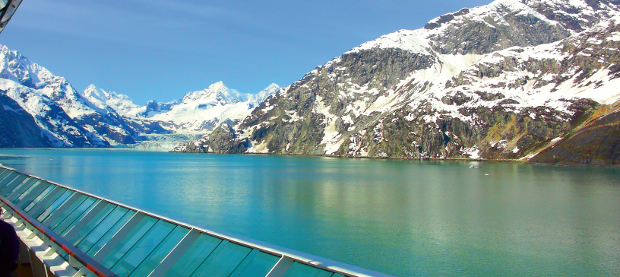 Alaska mountains seen from cruise ship