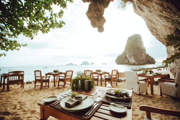 A restaurant in a cave overlooking the ocean