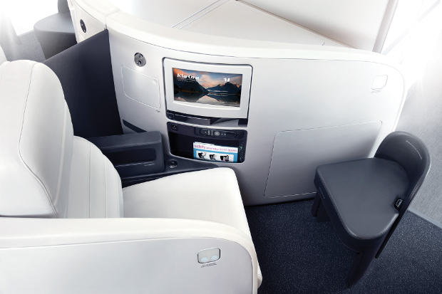 A top down view of the Air New Zealand business class seat