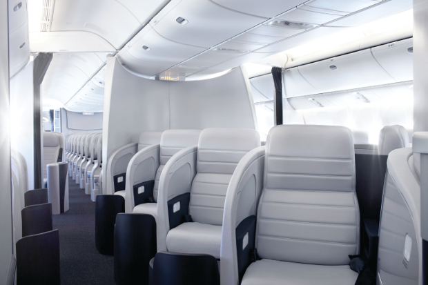 A look down the aisle in the Air New Zealand Business Class cabin