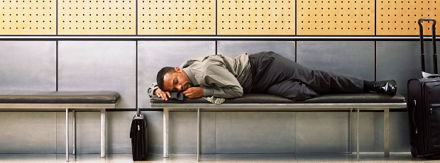 Asleep at airport
