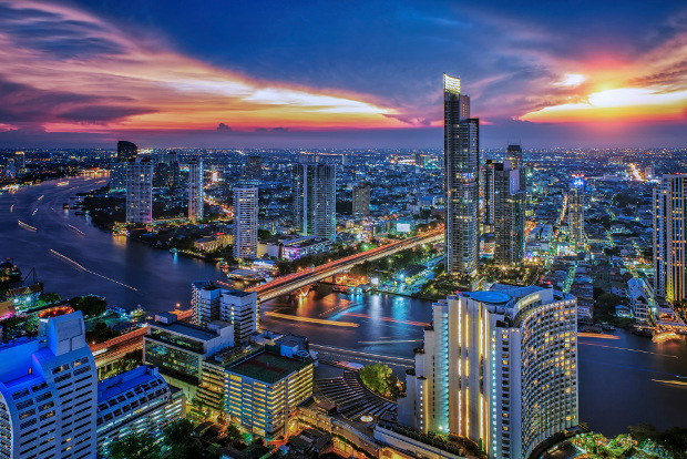 A city view of Bangkok at night
