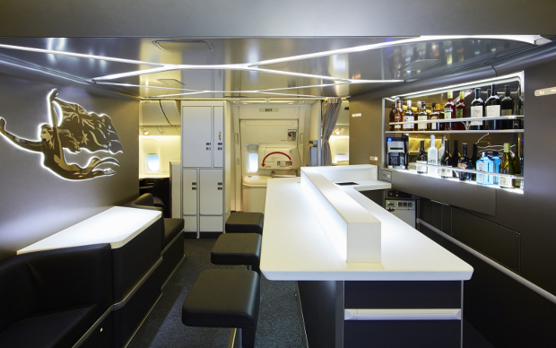 A side view of the new Business Class onboard lounge