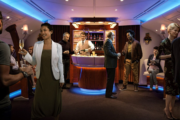 Passengers mingling at the onboard lounge