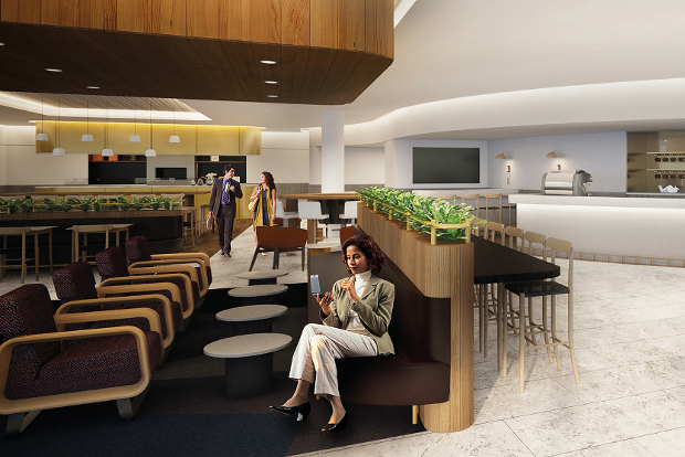 Artist render of the new domestic Qantas lounge