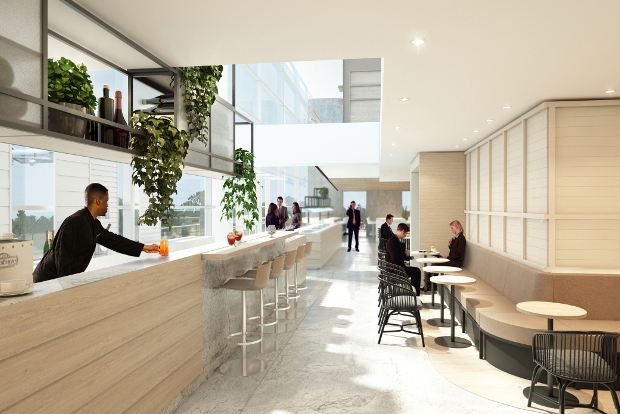Artist render of the drinking and dining area of the new Qantas lounge